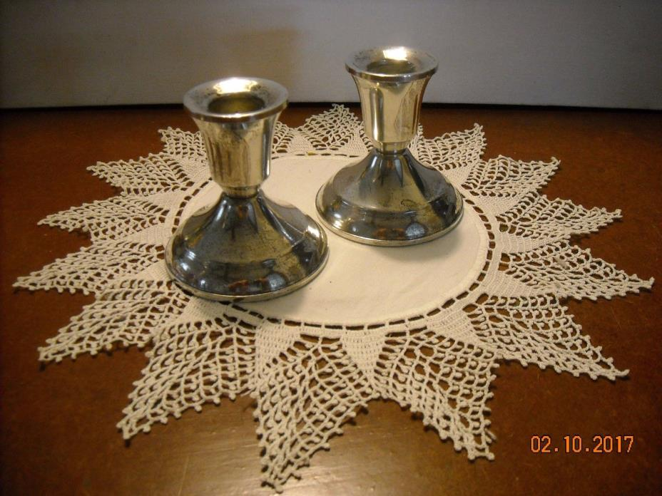 Vintage Pair  Weighted Sterling Silver Candle Holders Duchin Creation