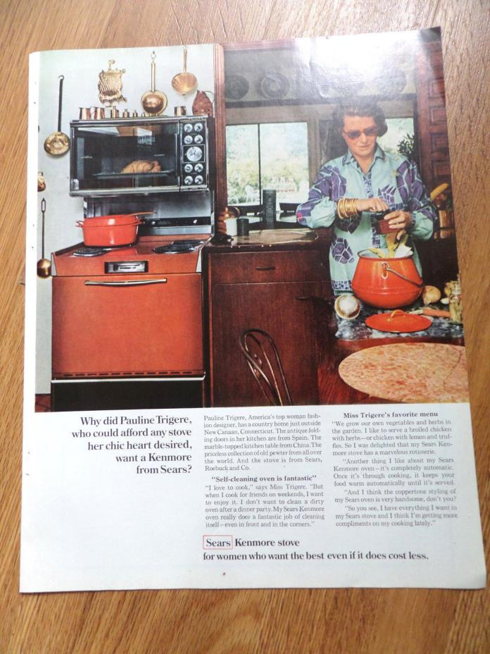 1968 Sears Kenmore Stove Range Ad  Pauline Trigere Fashion Designer