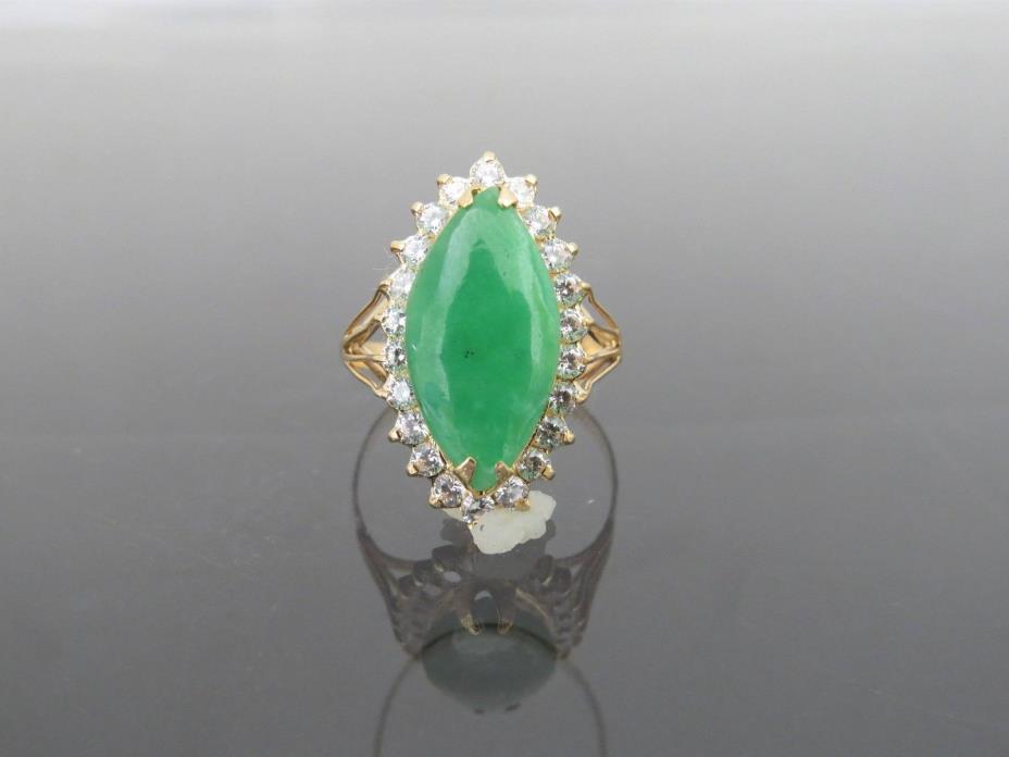 Vintage 18K YG Marquise Green Jadeite Jade & White Topaz Halo Ring Size 8.5