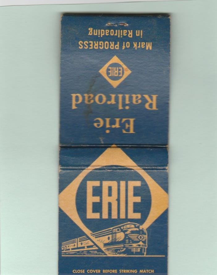 ERIE RAILROAD OLD MATCHBOOK COVER,DIESEL TRAIN ENGINE,ROUTE MAP,RR,SCARCE