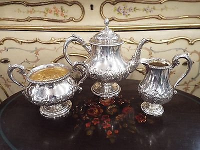 HUNT ROSKELL LATE STORR & MORTIMER PAUL VICTORIAN STERLING TEASET TEAPOT SUGAR