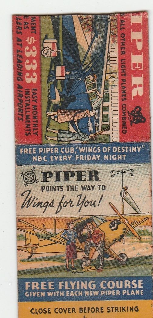 OLD MATCHBOOK COVER,PIPER PLANE,WINGS OF DESTINY,BEAUTIFUL LITHO,RARE