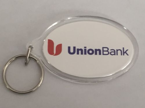 New~ Double Sided UNION BANK Oval Shaped Keychain! ~ Very Rare!