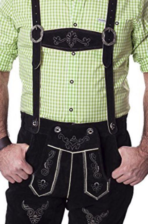 Lederhosen Leather Shorts Oktoberfest Trachten Bavarian Black Size 52