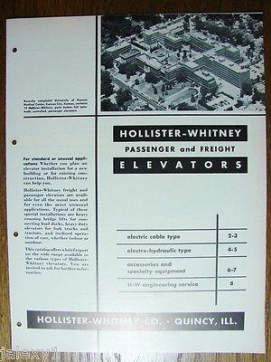 1954 HOLLISTER-WHITNEY Passenger Freight ELEVATORS Kansas Medical Center Catalog