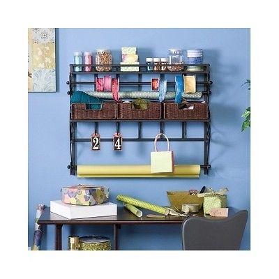 Craft Wall Mounted Storage/Organizer Rack Metal Frame Rattan Baskets Ribbon New