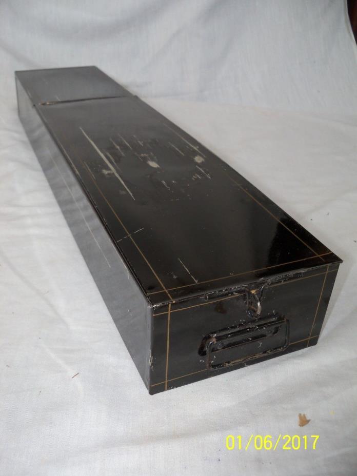 """Nice Old Vintage Safe Deposit Box Black w/Gold Pin Stripe 24"""" x 5 ¼"""" x 3"""""""