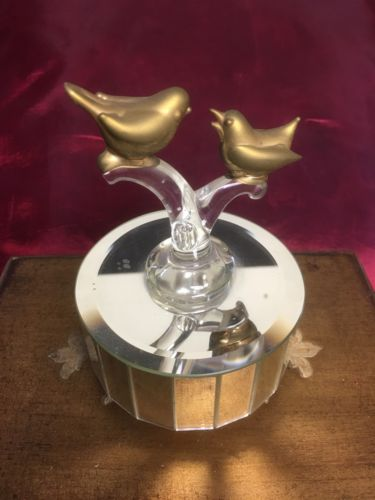 Vintage Mirrored Music Box Golden Glass Birds in Love Plays YouLight up my Life