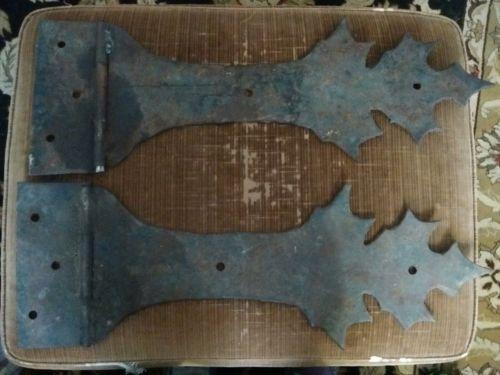 Pair of Heavy Super Large Steel Oak Leaf Shaped Hinges for Castle Door 27x9