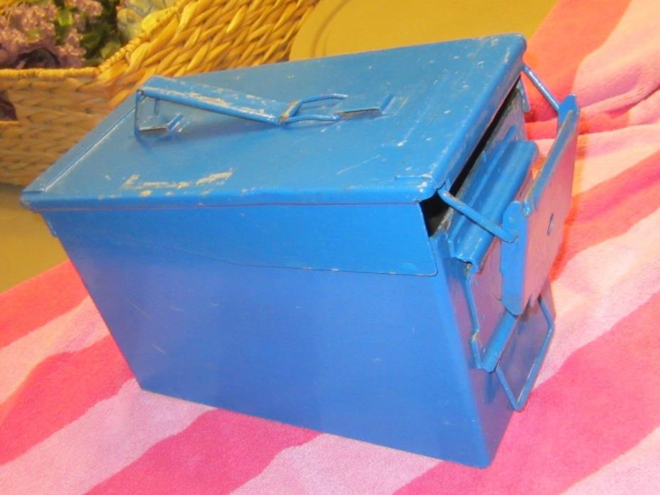 Vintage Metal Military AMMO Box blue