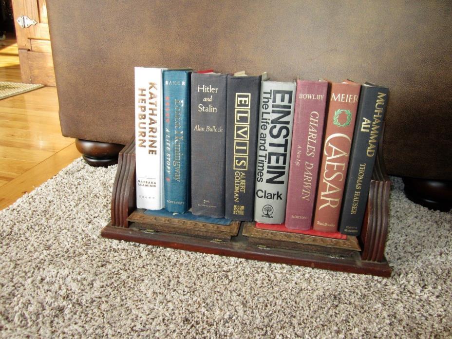 1800s Walnut Cast Iron Desk Table Top Book Rack Holder Stand Victorian AMERICANA
