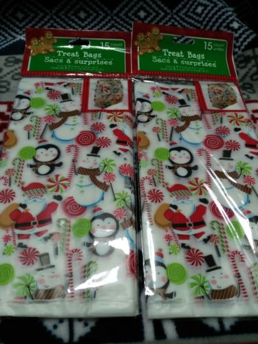 30ct Christmas Holiday Cello Cellophane Candy Party Loot Treat Gift Bags 4x8x2