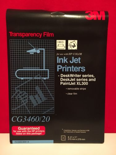 3M Transparency Film for HP Ink Jet Printers, CG3460/20 New 20 Sheets