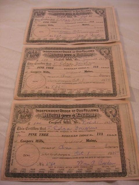 THREE (3) - INDEPENDENT ORDER OF ODD FELLOWS CERTIFICATES - DATED 1934 & 1935