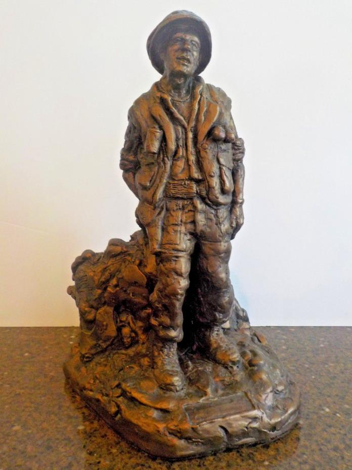 Unsigned Bronze Clay Statue Sculpture of US Soldier Vietnam with War Collage