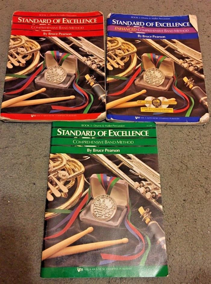 Standard Of Excellence Drums & Mallet (Lot Of 3) Books 1,2,& 3 By Bruce Pearson