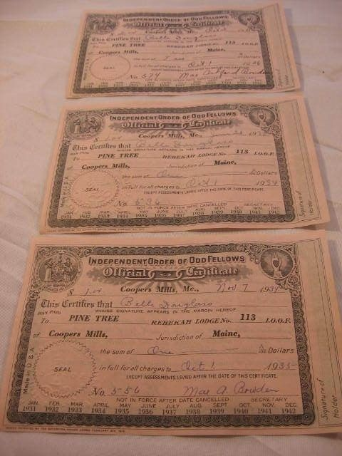 3 - INDEPENDENT ORDER OF ODD FELLOWS CERTIFICATES - 1934 & 1935