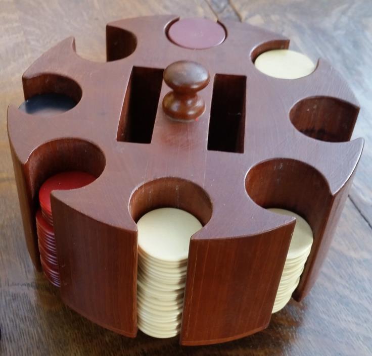 vintage walnut poker caddie with wood handle & 171 chips