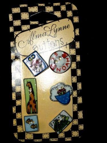 1997 VTG ALMA LYNNE CERAMIC NOAH ARK BUTTONS SET OF 6