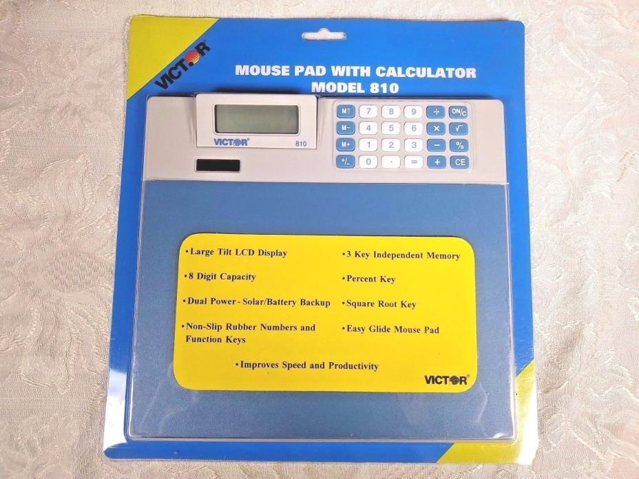 Victor Mouse Pad Calculator Model #810 8 Digit Capacity New in Box #OC593