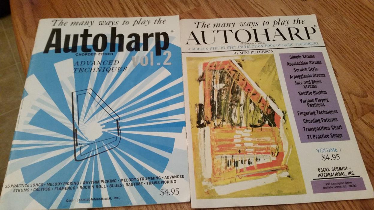 The many ways to play the Autoharp, vintage lot Volume 1 & 2, 1966, instruction