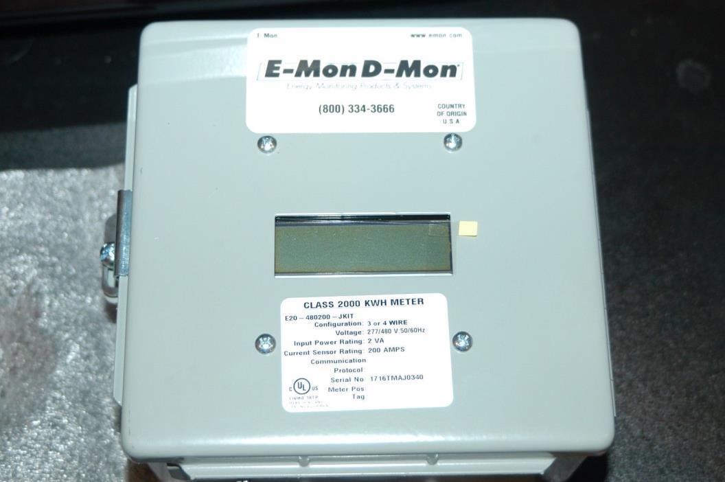 E-MON D-MON  CLASS 2000 KWH  METER  277/480 V. 200 AMPS