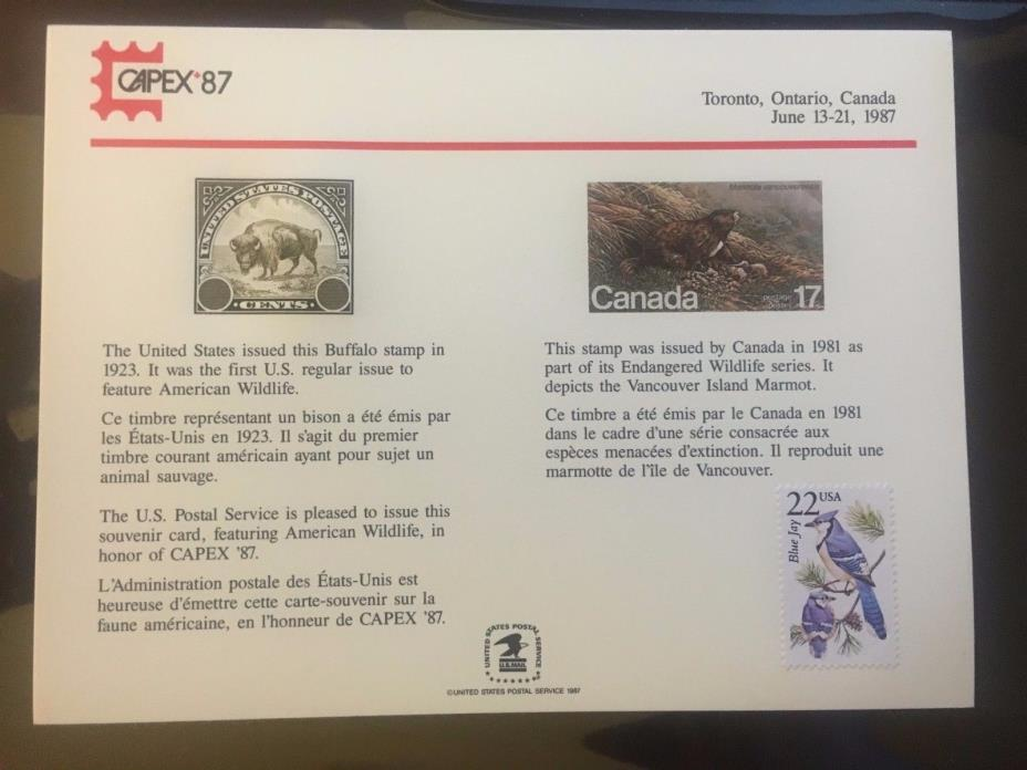 1987  CAPEX  Souvenir Card PS64 Stamped