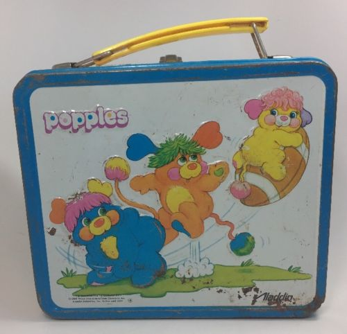 VINTAGE LUNCH BOX ALADDIN POPPLES 1986 Metal Tin Thermos Lunchbox