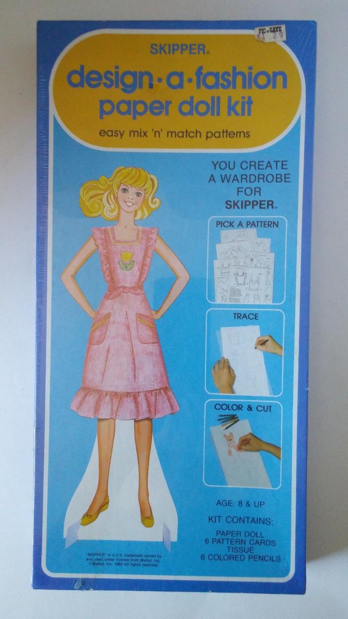 Vintage Barbie Paper Dolls: Skipper Design-A-Fashion Kit 1982 NEW SEALED