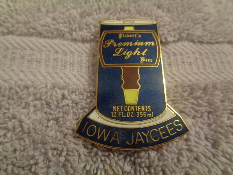 Iowa Jaycees Pickett's Beer Can Hat pin--Lapel pin--Trading pin 1 3/4