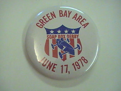 Soap Box Derby, Booster pin, button, Green Bay Area June 17 1978