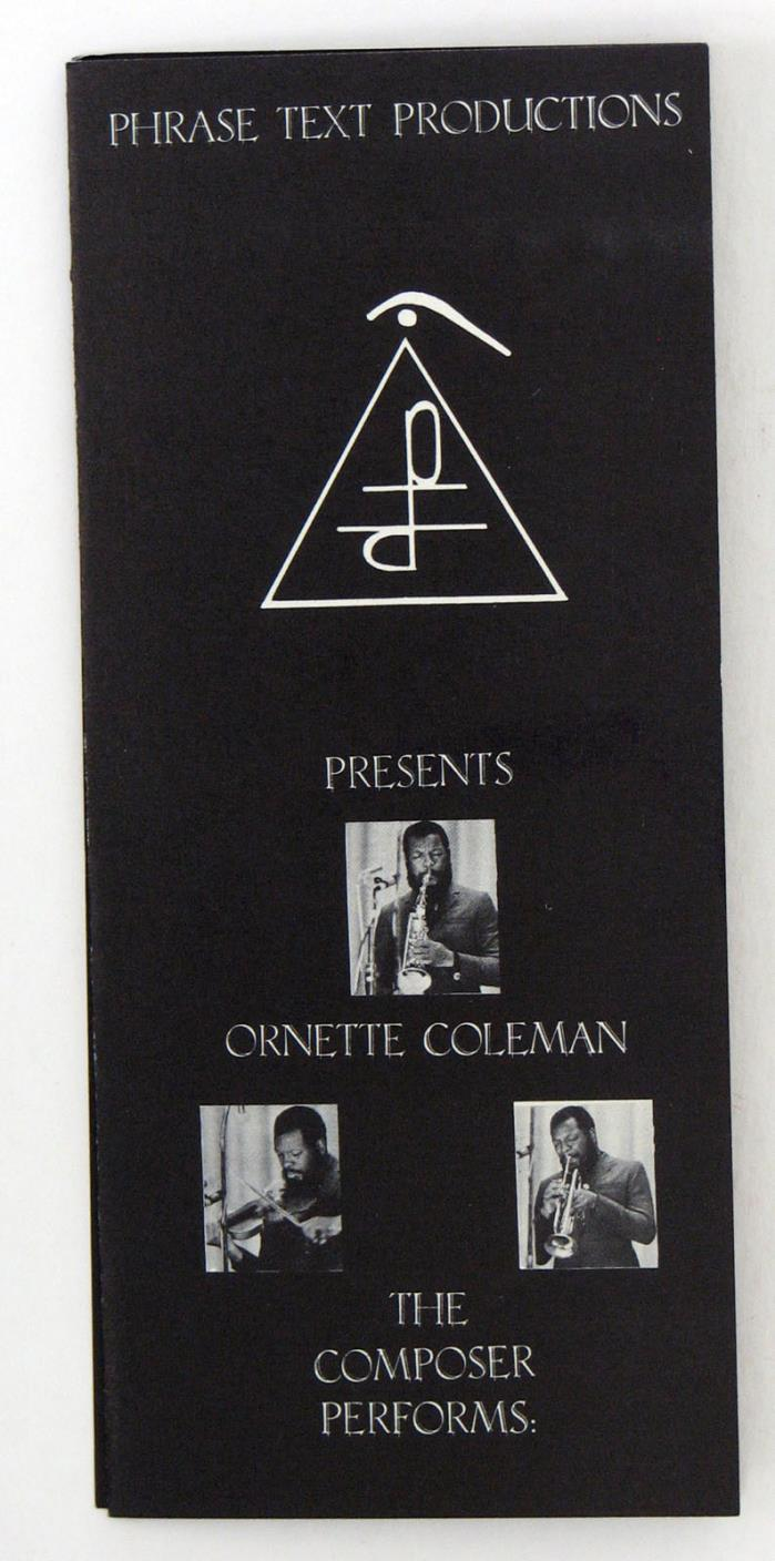 Promo brochure: ORNETTE COLEMAN's company PHASE TEXT PRODUCTIONS, 1970
