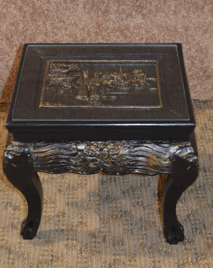 Vintage Petite Oriental Style Figural Accent Table Stand w/Glass Insert