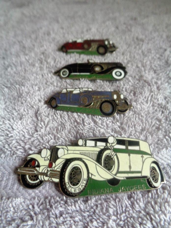 Four Indiana Jaycees Car Trading Pins--Lapel Pin--Hat Pin