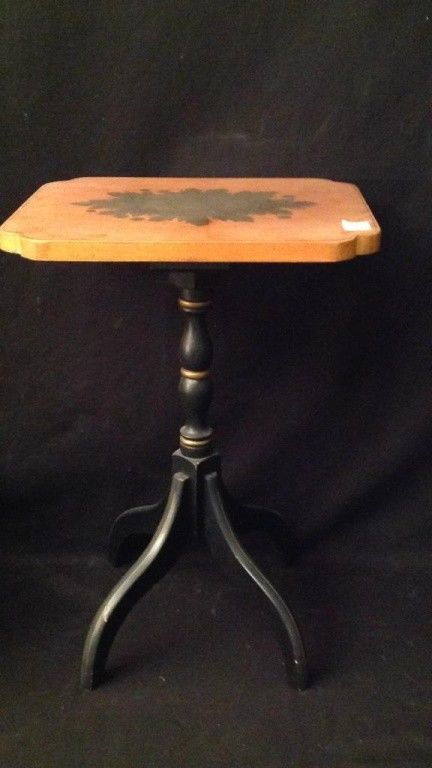 Vintage Hitchcock wood side table top with painted fruit design