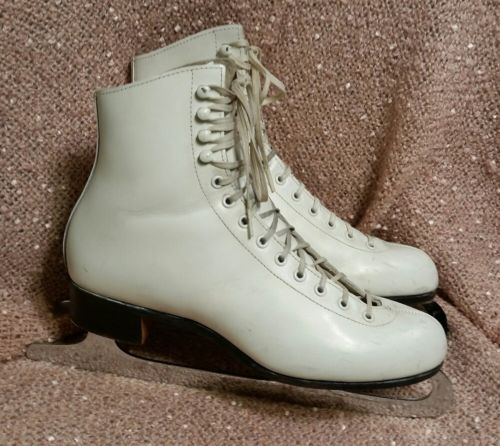 Riedell Red Wing Ice Figure Skates Women 8 M MK Sheffield Blades White Leather