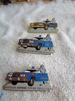 Three Georgia Jaycees Super Trooper Trading Pins--Hat Pins--Lapel Pins