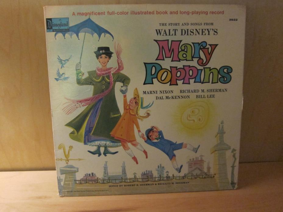 1964 Walt Disney's Mary Poppins Vinyl LP Story and Songs w/ Storybook - 3922