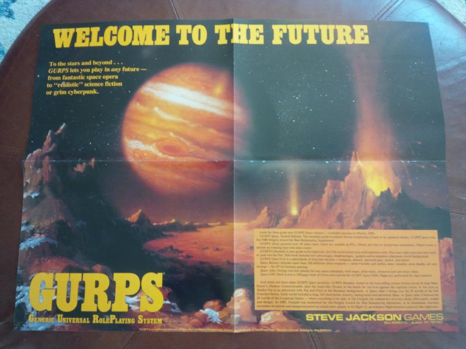GURPS poster 1990 Steve Jackson VERY RARE