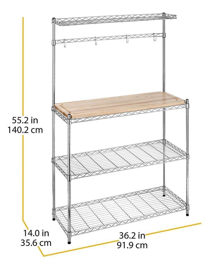 Supreme Baker's Rack Wood & Chrome Storage & Organization Products, Sealed.