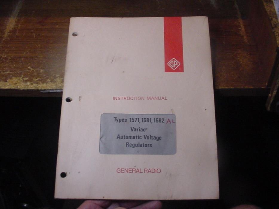 VINTAGE GR GenRad 1571, 81, 82 Adjustable VARIAC VOLTAGE Regulator Manual 5/72