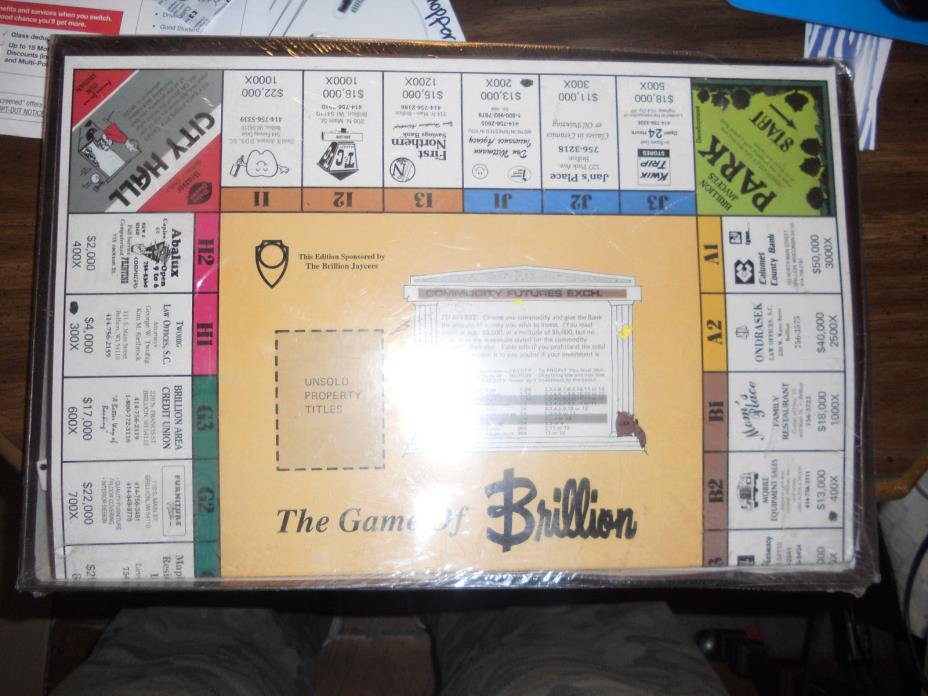 Rare Brillion Jaycees Edition Monopoly type Game new sealed