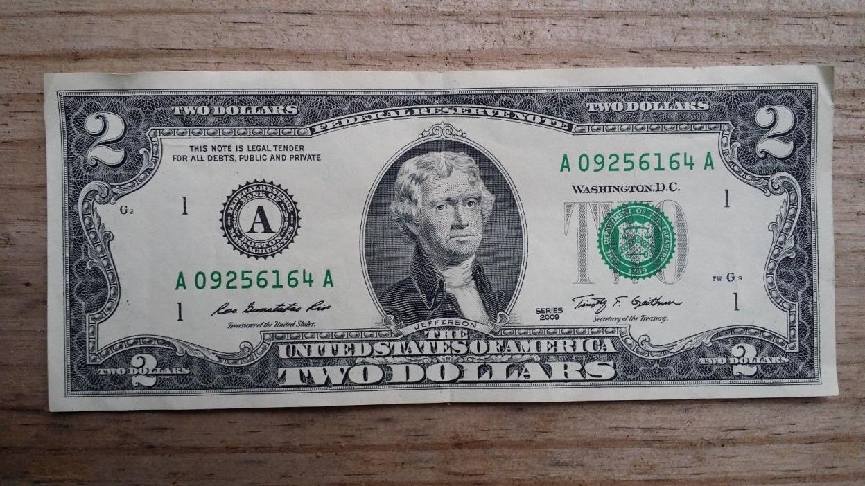 U.S. 2009 $ 2  Federal Reserve Note