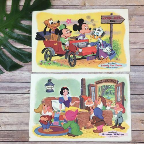 Vintage Disney Placemats Ludwig Von Drake Snow White Pair Set Mickey Minnie Set