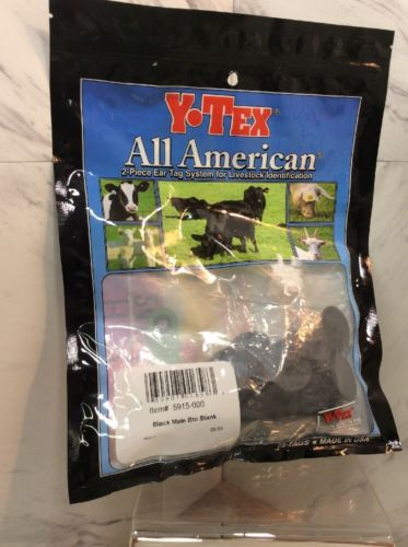 Y-Tex All American 2 Piece Ear Tag Male Blank Buttons 25 Ct Black Cattle ID NEW