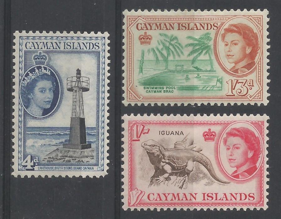CAYMAN ISLANDS 1953-62 MNH/MH/OG SG 155 174 175 QEII Defin 4d 1/- 1sh3d mint
