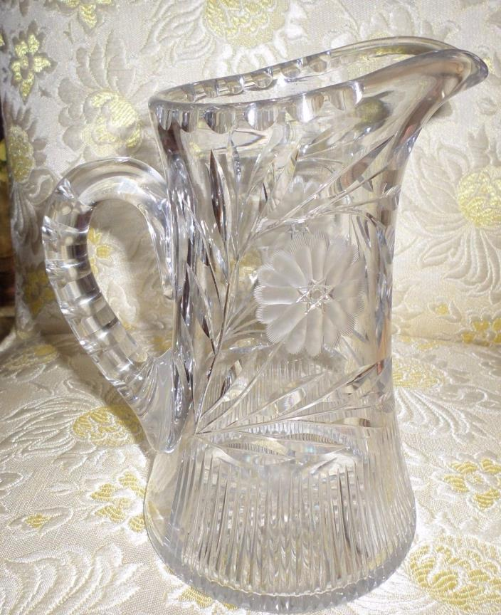 EARLY ETCHED GLASS PITCHER FLORAL AND COLUMS