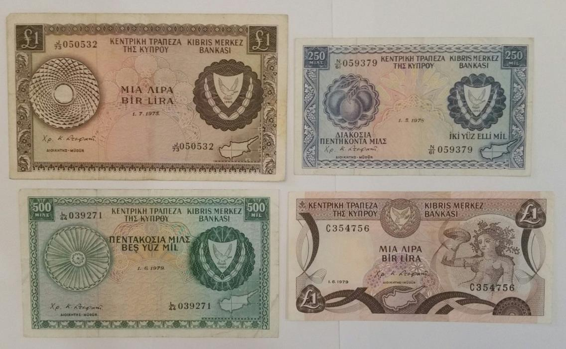 Cyprus 1 lira. 500, 250 mils 1970s lot of 4 banknotes world paper money