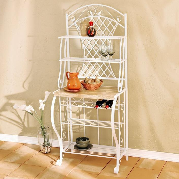 Kitchen Bakers Rack Storage Metal Shelves White Stand Wood Shelf Microwave Tier