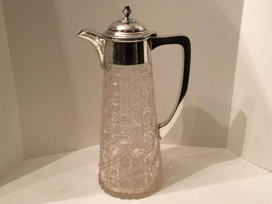 Antique English Sterling Silver&Queens Lace Crystal Claret Jug James Deakin 1883